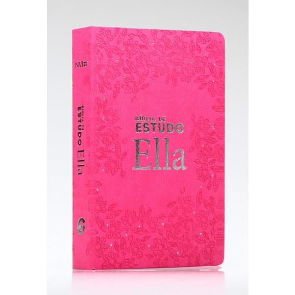 Bíblia Ella de Estudo   NVI   Letra Normal   Semi-Luxo   Rosa