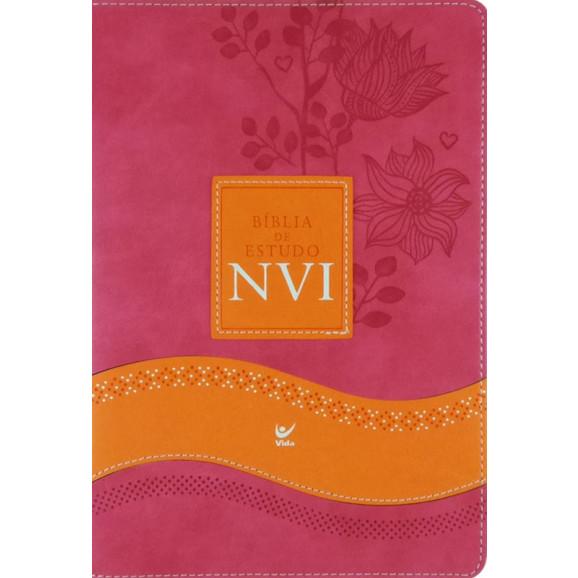 Bíblia De Estudo NVI | Grande | Rosa | Laranja | Luxo