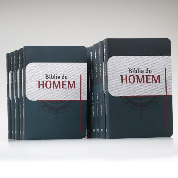 Kit de 10 Bíblias do Homem | NVI | Letra Grande | Soft Touch | Bússola