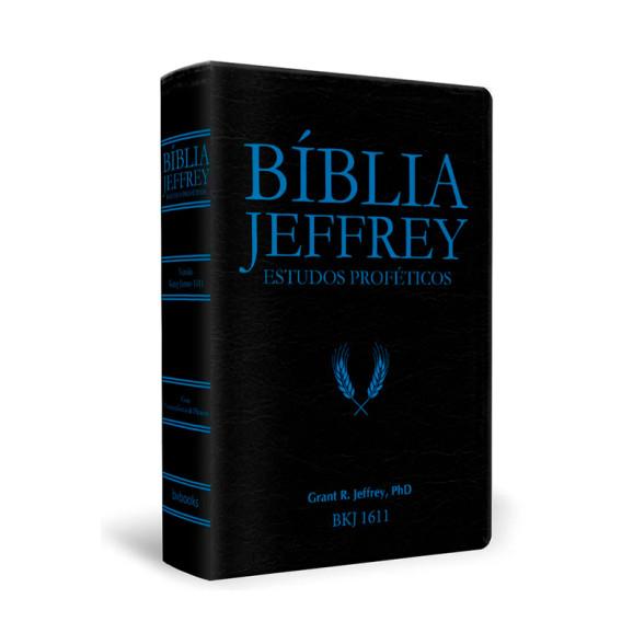 Bíblia Jeffrey Estudos Proféticos | King James | Letra Média | Luxo | Preta e Azul