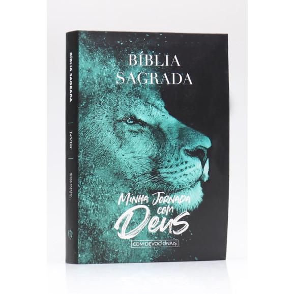Bíblia Sagrada Minha Jornada com Deus Com Devocionais   NVI   Letra Normal   Semi-flexível   Leão Azul