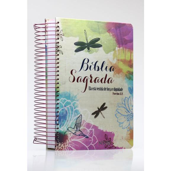 Bíblia Sagrada | NVI | Letra Média | Capa Dura | Espiral | Anote Ela Está Vestida de Força e Dignidade