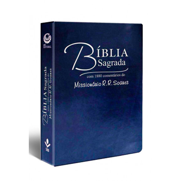 Bíblia Sagrada com Comentários do Missionário R. R. Soares | RC | Letra Grande | Luxo | Azul