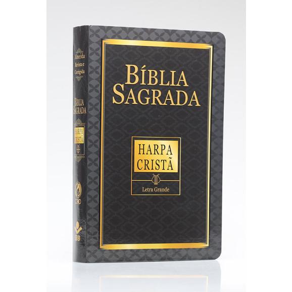 Bíblia Sagrada | RC | Harpa Cristã | Letra Grande | Capa Semiflexível | Preta