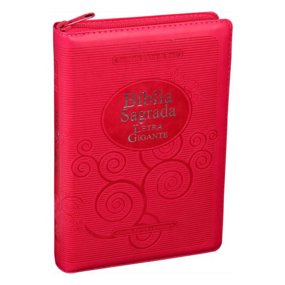 Bíblia Sagrada   RA   Letra Gigante   Emborrachada   Pink   Zíper