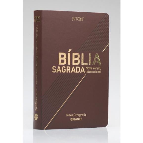 Bíblia Sagrada   NVI   Letra Gigante   Luxo   Nova Ortografia   Marrom