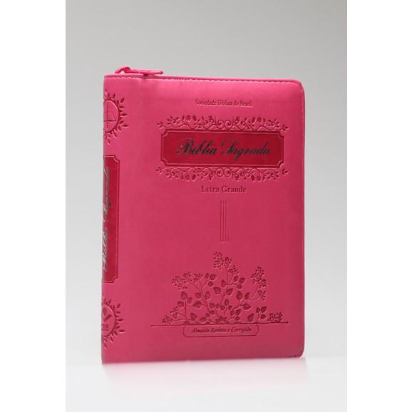 Bíblia Sagrada | RC | Letra Grande | Luxo | Pink | Índice | Zíper