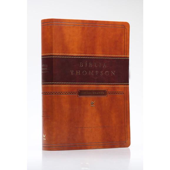 Bíblia Thompson | AEC | Letra Grande | Luxo | Marrom Claro e Escuro | Índice