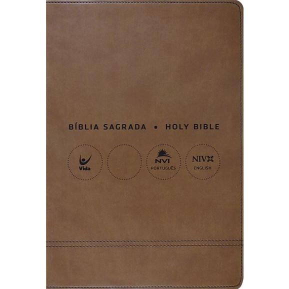 Bíblia Sagrada Holy Bible | Português e Inglês | NVI | Letra Normal | Luxo | Marrom
