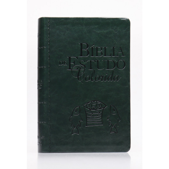 Bíblia de Estudo Colorida | NVI | Letra Grande | Capa PU | Verde