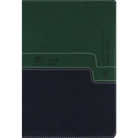 Bíblia Sagrada Holy Bible | Português e Inglês | NVI | Letra Normal | Luxo | Verde | Azul