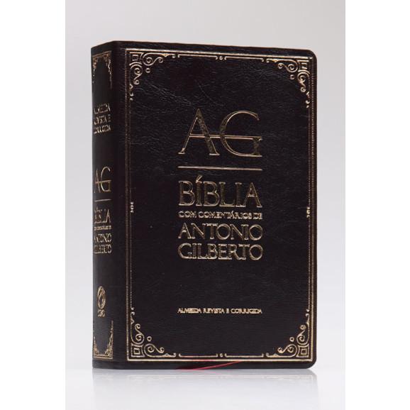 Bíblia com Comentários de Antonio Gilberto | RC | Letra Normal | Luxo | Preta