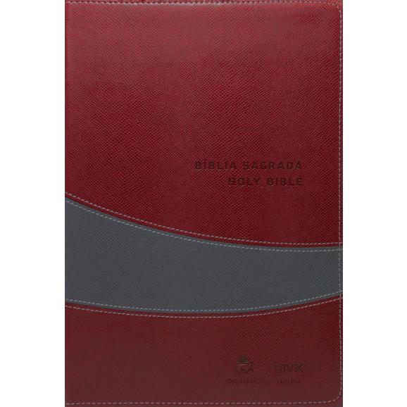 Bíblia Sagrada Holy Bible   NVI   Letra Média   Luxo   Vinho   Cinza