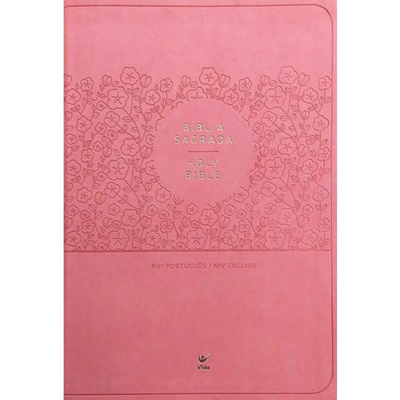Bíblia Sagrada Holy Bible | NVI | Letra Normal | Luxo | Rosa