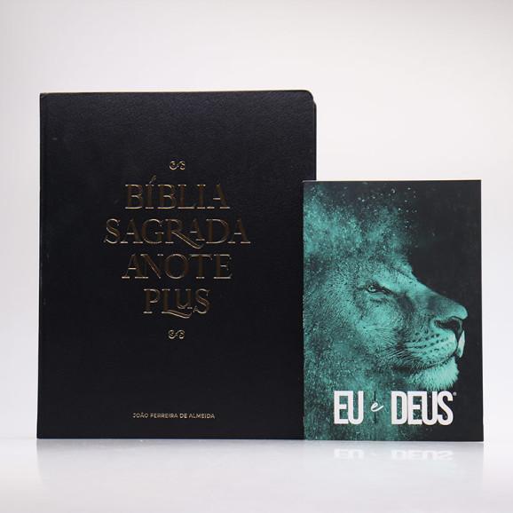 Kit Bíblia Anote Plus RC Black Edition + Devocional Eu e Deus Leão Azul   Pai Para Todos