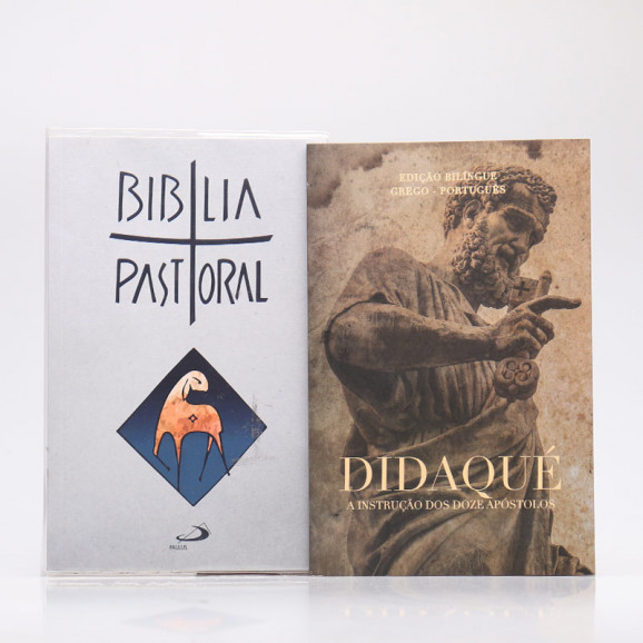 Kit Bíblia Pastoral Colorida Letra Normal Branca + Didaqué | Vivenciando a Fé