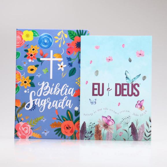 Kit Bíblia NVT Céu Azul + Devocional Eu e Deus Jardim Secreto   Mulher de Fé