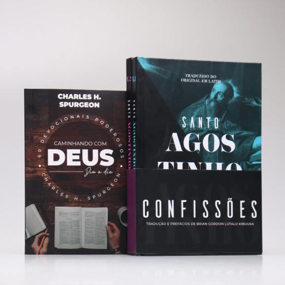 Kit 3 Livros | Confissões de Santo Agostinho Vol.1 e Vol.2 + Devocional Spurgeon Café