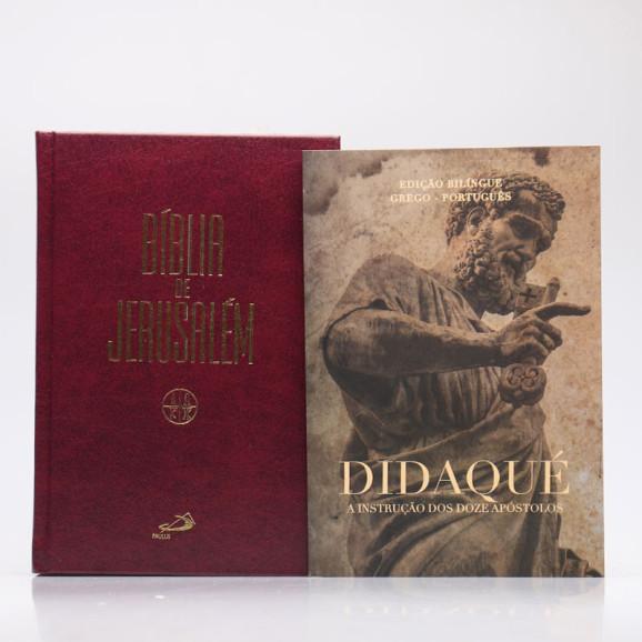 Kit Bíblia de Jerusalém Letra Normal Capa Dura Vinho + Didaqué | Vivenciando a Fé