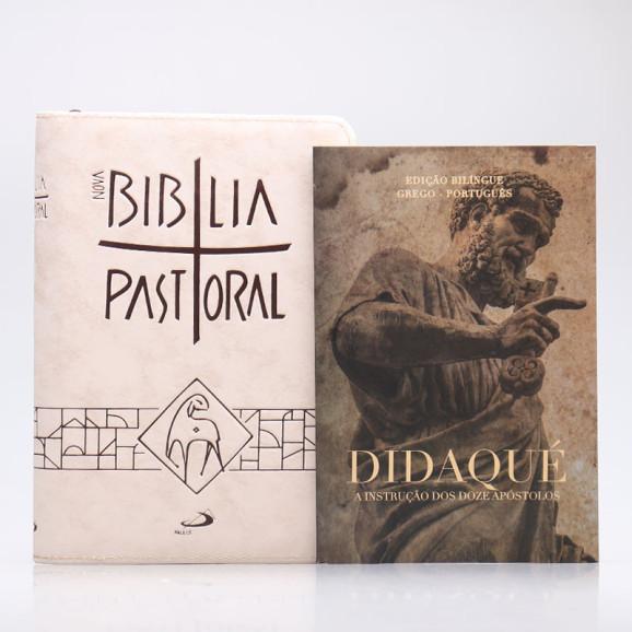 Kit Nova Bíblia Pastoral Letra Normal Creme Zíper + Didaqué | Vivenciando a Fé