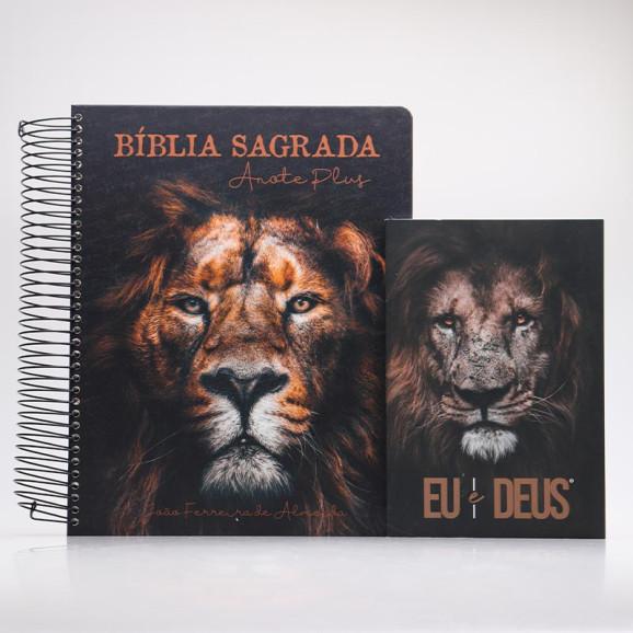 Kit Bíblia Anote Plus RC Leão de Judá + Devocional Eu e Deus Eu Sou | Pai Para Todos