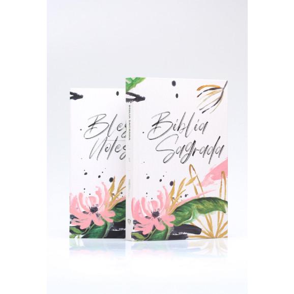 Bíblia Sagrada   ACF   Letra Média   Capa Dura   Floral Branco + Blessing Notes