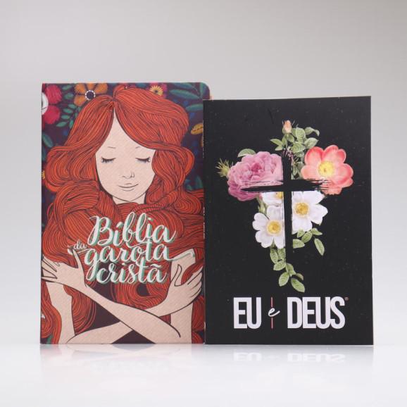 Kit Bíblia da Garota Cristã + Eu e Deus   Flores Cruz