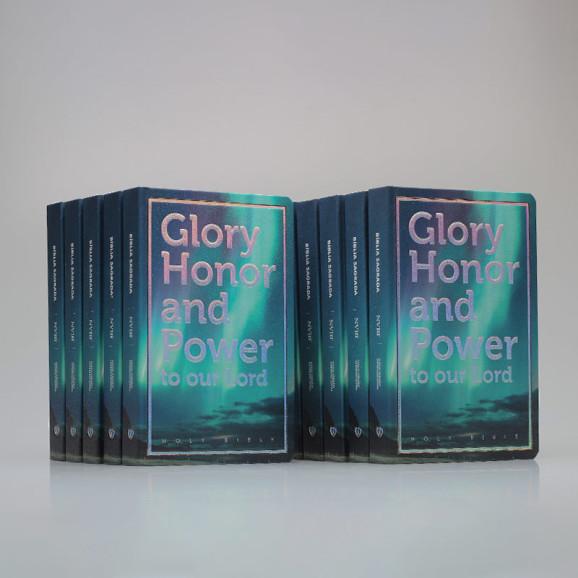 Kit 10 Bíblias   Glory Honor and Power   NVI   Letra Média   Luxo   Azul