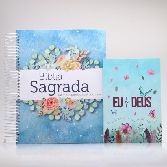 Kit Bíblia Anote Plus RC Pontos de Luz + Devocional Eu e Deus Jardim Secreto   Mulher de Fé