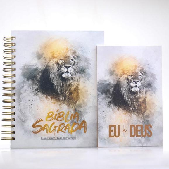 Kit Bíblia NVI Capa Dura Leão Dourado Com Espaço Para Anotações + Eu e Deus Leão Dourado | Palavras de Bênção