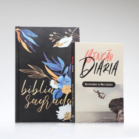 Kit Tempo com Deus   Bíblia ACF Flores + Devocional Benção Diária
