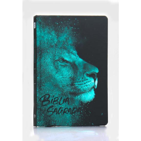 Bíblia Sagrada   King James 1611   Letra Média   Capa Dura/Soft Touch   Leão Azul