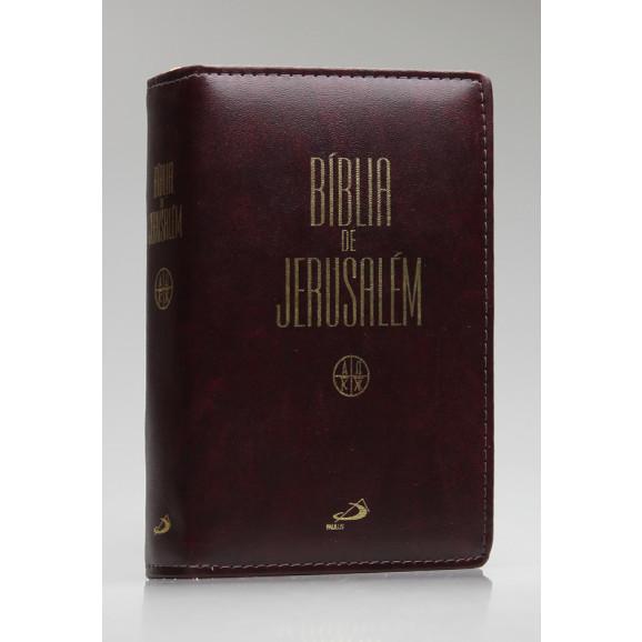 Bíblia de Jerusalém | Letra Normal | Luxo | Tamanho Médio | Vinho | Zíper