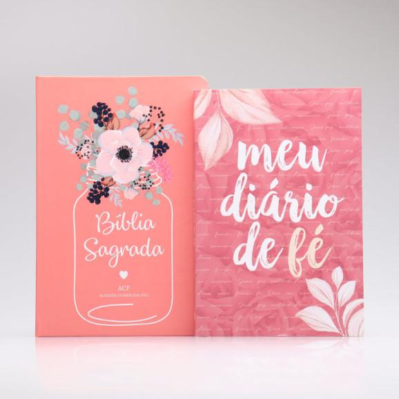 Kit Bíblia ACF Flor de Pote + Grátis Meu Diário de Fé   Mulher de Fé