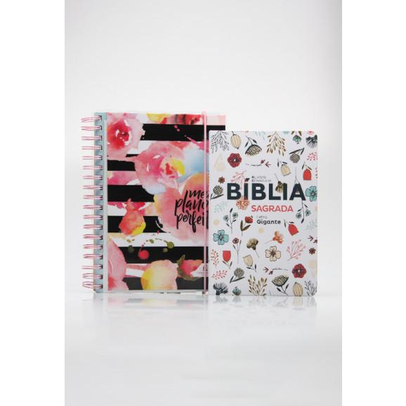 Kit Planeje Sua Vida   Meu Plano Perfeito Flores Com Listras + Bíblia Sagrada   RC   Flowers Branca