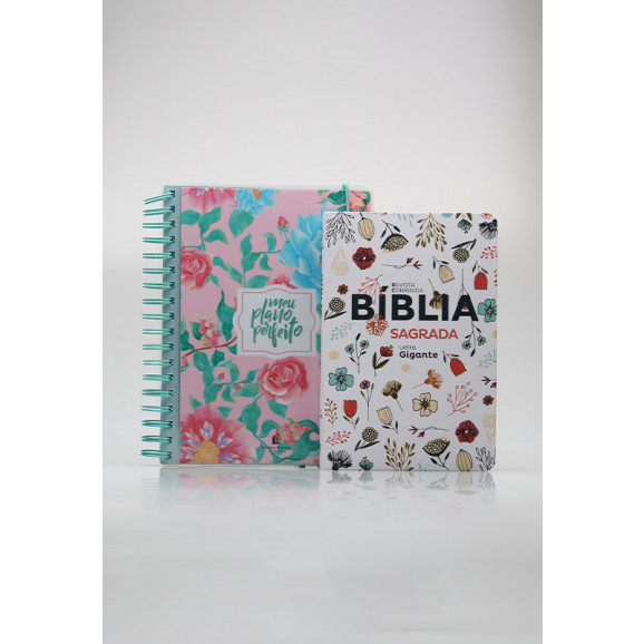 Kit Planeje Sua Vida | Meu Plano Perfeito Floresça + Bíblia Sagrada | RC | Flowers Branca