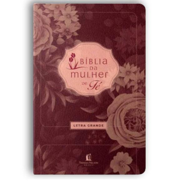 Bíblia de Estudo da Mulher de Fé | Letra Grande | NVI | Luxo | Vinho | Grátis Capa Plástica