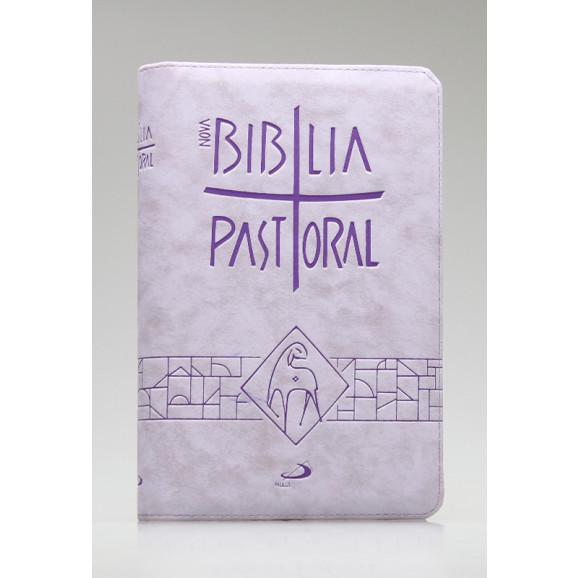 Nova Bíblia Pastoral | Letra Normal | Luxo | Tamanho Médio | Lilás | Zíper