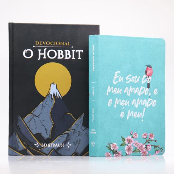 Kit Bíblia NVI Letra Gigante Meu Amado + Devocional O Hobbit   Aventuras Diárias