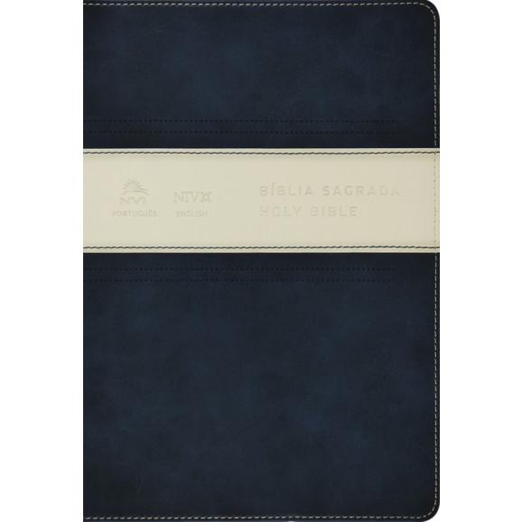 Bíblia Sagrada Holy Bible | Português e Inglês | Azul/Branco