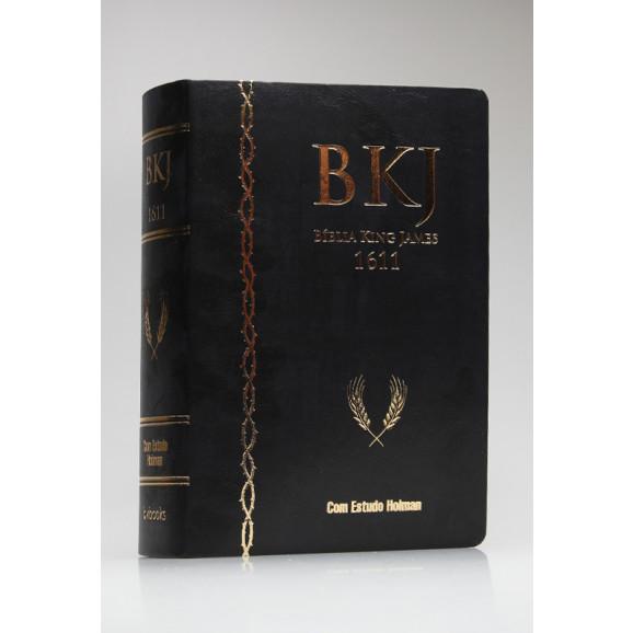 Bíblia de Estudo   King James Fiel 1611   Letra Grande   Capa PU   Marrom/Preto