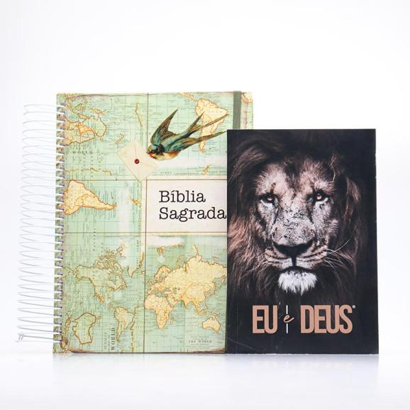 Kit Bíblia Sagrada Jornada Anote Send + Eu e Deus Eu Sou   Fé Inabalável