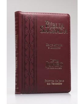 Bíblia Sagrada | RC | Harpa Avivada e Corinhos | Letra Jumbo | Luxo | Arabesco | Bordo | Zíper
