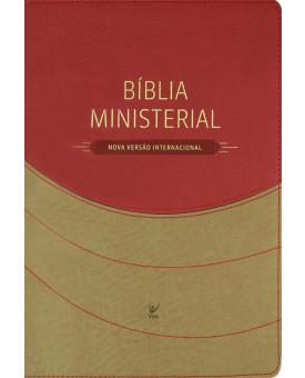 Bíblia de Estudo Ministerial | NVI | Luxo | Vermelho/Bege