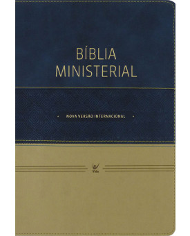 Bíblia de Estudo Ministerial   NVI   Luxo   Azul/Bege