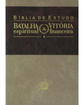 Bíblia de Estudo Batalha Espiritual   Vitória Financeira   NVI   Média   Marrom/Creme