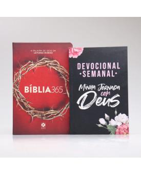 Kit Bíblia 365 NVT Coroa + Devocional Semanal Flores Cruz | Momento Diário