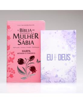 Kit Bíblia de Estudo da Mulher Sábia RC Harpa Letra Grande Rosa + Eu e Deus Lilás | Cheias de Sabedoria