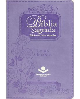 Bíblia Sagrada   RC   Letra Gigante   Emborrachada   Violeta   Luxo   letras vermelhas