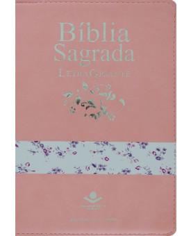 Bíblia Sagrada | RC | Letra Gigante | Média | Emborrachada | Rosa Claro/Flores | Luxo com Índice e Zíper